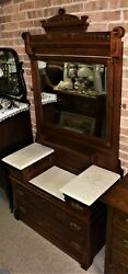 Antique Victorian Eastlake Carved Marble Top Step Down Dresser Chest W/ Mirror