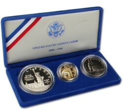 Gold Coin United States Liberty Coins 1886 - 1986 3 Coin Proof Set W/ Case And Coa