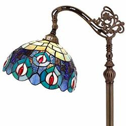 Style Reading Floor Lamp W12h64 Inch 1e26 Blue Stained Glass Peacock ...