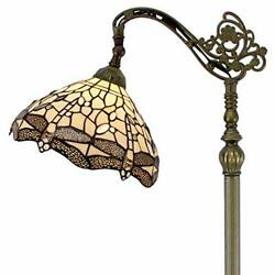 Style Reading Floor Lamp Stained Glass Cream Dragonfly Lampshade In 6...