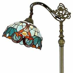 Style Reading Floor Lamp W12h64 Inch 1e26 Green Blue Stained Glass Fl...