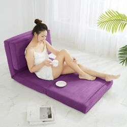 Flip Chair Bed Sofa Convertible Futon Sleeper Couch Dorm Small Room Purple Berry