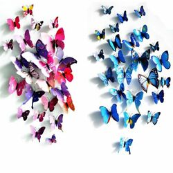 24 12 Pack 3D Butterfly Wall Stickers Removable Decals Home Room Decor Ornament