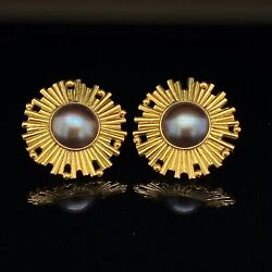 A Pair Of Modernist 18ct Gold Mabe Pearl Earrings Video Available