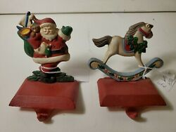 Midwest Of Cannon Falls Cast Iron Stocking Holder Lot Of 2 Rocking Horse And Santa