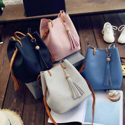 Simple drawstring bag bucket bag hobo bag fashion tassel pendant shoulder bag $14.89