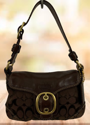 COACH LOGO CANVAS LEATHER SHOULDER PURSE BROWN SMALL $40.00