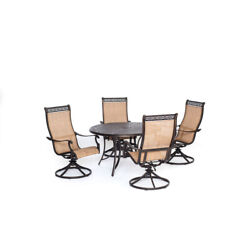 Hanover Mandn5pcsw-4 Manor 5 Piece Outdoor Dining Set With Four Swivel Rockers