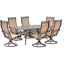 Hanover Mandn7pcsw-6 Manor 7 Piece 6 Swivel Rockers And Table Outdoor Dining Set