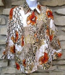 SAMANTHA GREY Womens Jacket Top Unlined Size 12 Lightweight Floral Polyester $14.95