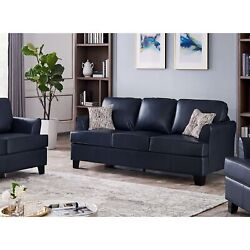 Chantal 87.5 Oversized Flared Arm Sofa Couch, Upholstered Faux Leather, Blue...