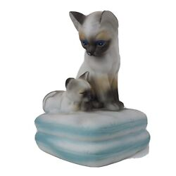 Mann Siamese Cat And Kitten Figurine Music Box / Plays You Light Up My Life