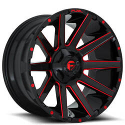 4 22x10 Fuel Wheels D643 Contra Gloss Black W Red Milled Off Road Rims B48