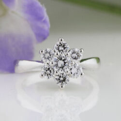 Round Cut 1.08 Ct Real Diamond Engagement Ring 18k Solid White Gold Size 5 6 8.5