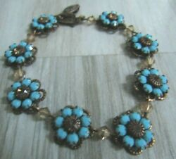Liz Palacios Antiqued Brass Tone Blue Turquoise And Crystal Flowers Link Bracelet