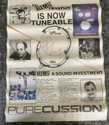 Vintage Rims Headset 18x23andrdquo Drums Promo Poster Carl Palmer Kenny Aronoff Drummer