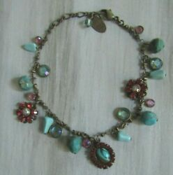 Liz Palacios Antiqued Brass Tone Turquoise And Pink Crystal Bracelet