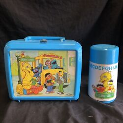 Sesame Street Lunch Box With Thermos Aladdin Muppets Plastic