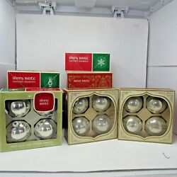 Vintage Lot Of Large Shiny Brite Silver Balls 10 Boxes 4 Per Box About 3 Across