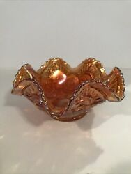 """Antique Carnival Glass Ruffled Candy Dish Orange 6"""" Small Chip"""