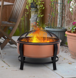 Wood Burning Fire Pit Bowl Rustic Round Steel Outdoor Patio Poker Grate Copper