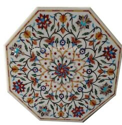 42 White Marble Center Table Top Semi Precious Stones Floral Inlay Work