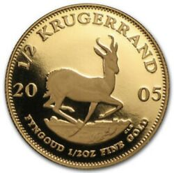2005 South Africa 1/2 Oz Krugerrand Gold Proof Andbull Brilliant Uncirculated Coin