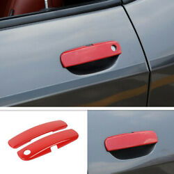 For 2012-2020 Dodge Challenger Abs Red Car Door Handle Trim Cover Accessories 2p