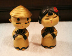 Vintage 1940's 1950's Asian Nodders Pair Bobbleheads Gold Traditional Dress
