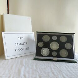 Jamaica 1989 9 Coin Proof Set With Silver - Complete - Mintage 500