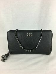 CHANEL Camellia Zip Wallet with Micro Chain $425.00