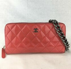 CHANEL Patent Zip Wallet on Antique Silver Chain $395.00
