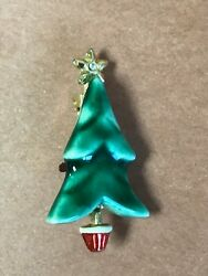 Vintage Beatrix Signed Small Green Ceramic Christmas Tree In Red And White Pot Pin