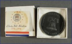 1776-1976 Pewter Liberty Bell Medallion By Nice Mint Div. Phila. And Box And Paper