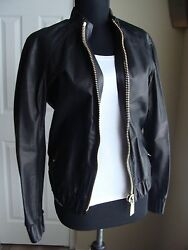 Porsche Design Black Calfskin Womenand039s Leather Blouson Jacket Made In Italy New
