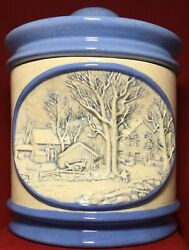 Hershey Molds 3d Winter Rural Scene 1979 Cookie Jar Canister W Lid 11 X 8 Blue