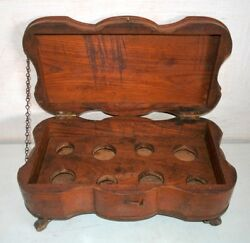 Old Antique Wood Hand Crafted Perfume Bottle Storage Box With Wheel Big Box