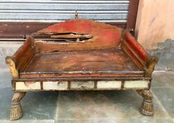 1700's Antique Rare Wood Glass Hand Carved Gold Painting Bikaner Hindu Temple
