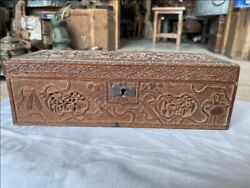 17th C Ancient Old Chines Wood Floral Figure Carved Rich Royal Jewelry Box Rare