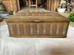 17th C Ancient Brass Copper Silver 3 Metals Mughal Floral Rich Jewelry Box Rare