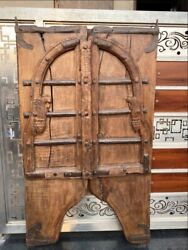 Antique 1800and039s Wooden Bikaner Castle 50 X 25.5and039and039 Old Jharoka Door Lock System