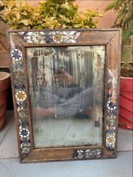 Rare Collectible Wood Hand Crfated Colorful Glass Work Beautiful Mirror Frame
