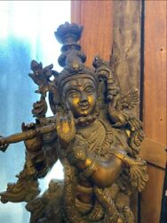Antique Old Brass Carved Hindu God Krishna Play Flute 20and039and039 Big Sculpture Statue