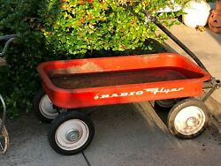 Vintage Radio Flyer Red Wagon 1960's Outdoor Toy Decor Pick Up Only Rochester Ny