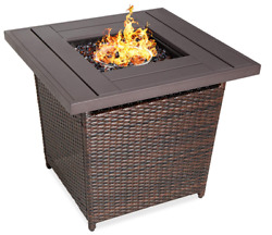 Outdoor Fire Pit Table Patio Backyard Heater Lp Gas Wicker Planked Brown Square