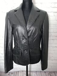 Izod Womenandrsquos Leather Jacket Ladies Size Medium Button Down Pocketed