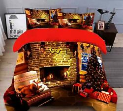 3d Fireplace Deer O076 Christmas Quilt Duvet Cover Xmas Bed Pillowcases Fay