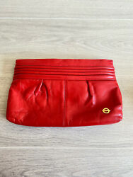 VTG Red Clutch Purse Bag Wallet 80#x27;s? 90#x27;s? Leather Cabin Creek Classy $35.00