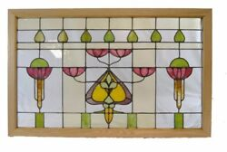 Antique Arts And Crafts Stained Glass Window 32 X 50.5