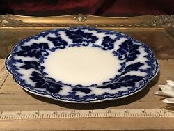 Antique Johnson Brothers Flow Blue Dinner Plate Normandy 10